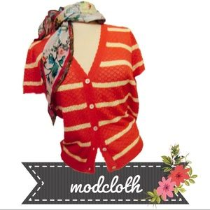 NWOT ModCloth Pointelle Stripe Cardigan